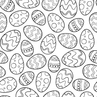 Seamless monochrome pattern with easter eggs