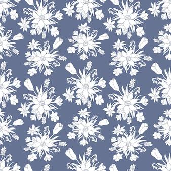 春の花とのシームレスな白黒パターン。花柄。