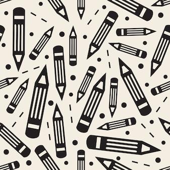Бесшовный монохромный карандаш с точечным и фоновым рисунком