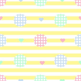黄色のストライプの背景にカラフルな心のパターンとシームレスな単色のシンプルなドット