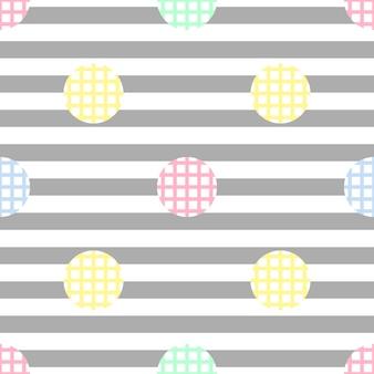 ストライプの背景に金ドットの輝きのパターンとシームレスな単色のシンプルなドット