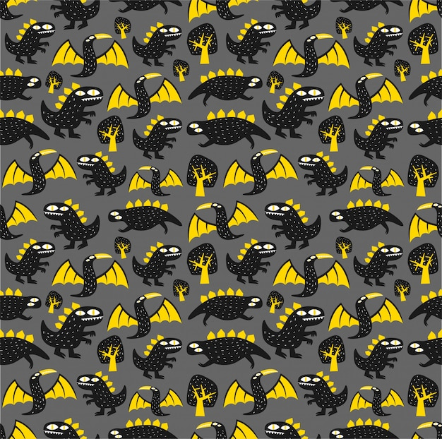 Seamless monster dinosaur pattern