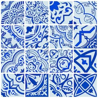 シームレスモザイクタイルセラミックスカンジナビアとモロッコの青いパターン