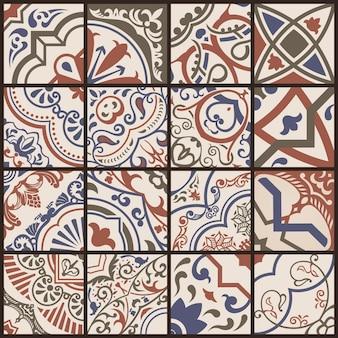 シームレスモザイクタイルセラミックスカンジナビアとモロッコの茶色のパターン