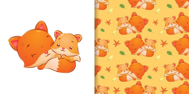 Seamless of the mother of the fox sleeping with her baby's fox illustration