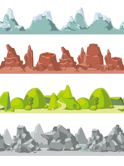 Montagne senza soluzione di continuità in stile cartone animato per gioco, terra e roccia, illustrazione vettoriale