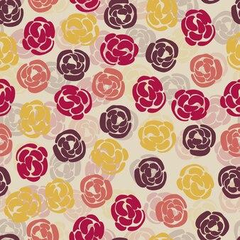 꽃 스탬프와 원활한 멀티 컬러 패턴 배경