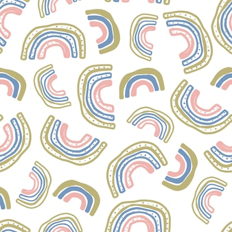 Seamless multicolour pattern background with hand draw doodle rainbow