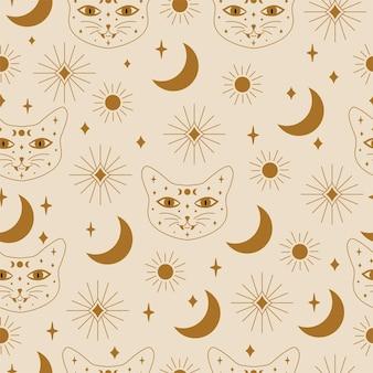 벡터에서 원활한 신비로운 고양이와 별 패턴