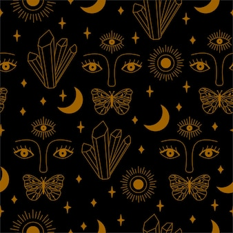 Seamless mystical pattern with crystal, eyes, butterfly and moon in vector.