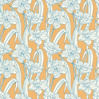 Seamless narcissus flowers hand drawn pattern .summer floral blossom