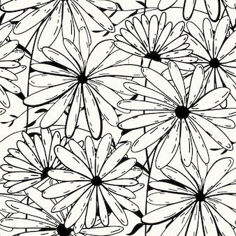 흰색 바탕에 원활한 자연 추상 꽃 패턴 블랙 화이트 색상