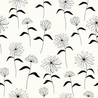 흰색 바탕에 원활한 자연 추상 꽃 패턴 블랙 화이트