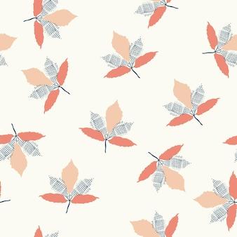 흰색 배경에 원활한 자연 추상 패턴 나뭇잎 민속 예술 스타일 손 그리기
