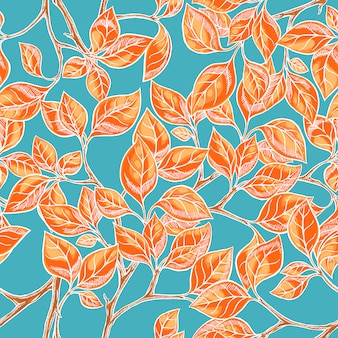 Seamless natural background with orange hand-drawn leaves on a blue background