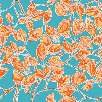 青色の背景にオレンジ色の手描きの葉でシームレスな自然な背景