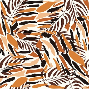 Seamless natural botanical pattern abstract leaves tropical plants on a brown background
