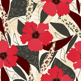 シームレスな自然の花柄の抽象的な赤いハイビスカスと緑のヤシの葉白い背景