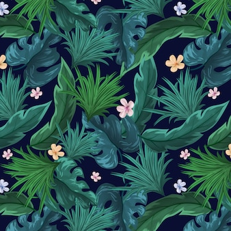 Seamless Natural Leaves With Flowers Pattern