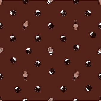 원활한 자연 패턴 버그 곤충 곤충 어두운 갈색 배경 손으로 그린 디자인 섬유