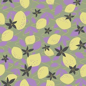 원활한 자연 패턴 레몬과 라일락 잎 짙은 녹색 배경 손 그리기