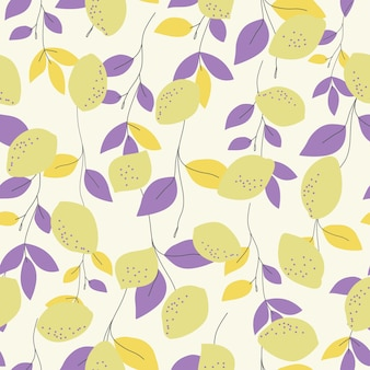 원활한 자연 패턴 레몬과 라일락 잎 흰색 배경 손 그리기