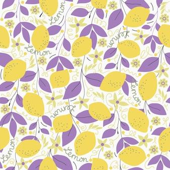 원활한 자연 패턴 레몬과 라일락 잎 흰색 배경 손으로 그린