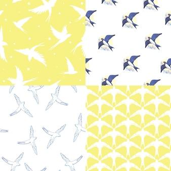 シームレスな自然のパターン。多くのツバメが空を飛ぶ