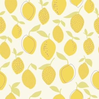 원활한 자연 패턴 질감 레몬과 잎 흰색 배경 손 그리기