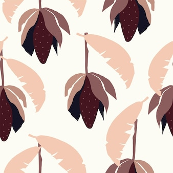 Seamless nature autumn pattern gardening abstract shapes and leaves dark brown background