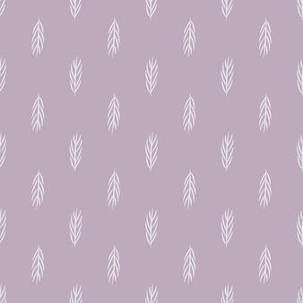 Seamless nature geometric  pattern abstract flowers leaves and elements lilac background hand drawn