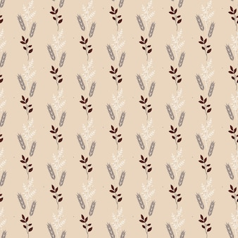 Seamless nature pattern  abstract botanical elements brown background vector illustration