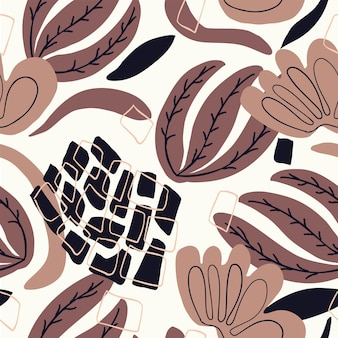 Seamless nature pattern abstract flowers leaves shapes and elements drawing on  white background