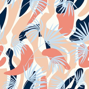 Seamless nature pattern abstract palm leaves elements drawing on  white background hand drawn