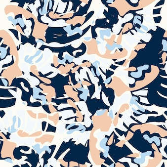 Seamless nature pattern abstract  shapes and elements drawing on  white background hand drawn