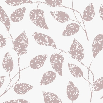 Seamless nature pattern abstract texture leaves drawing on  white background hand drawn