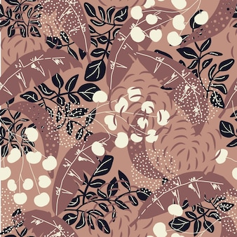 Seamless nature pattern abstract texture leaves shapes drawing on brown background hand drawn