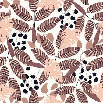 원활한 자연 패턴 추상 질감 배경 손으로 그린에 모양 그리기 나뭇잎