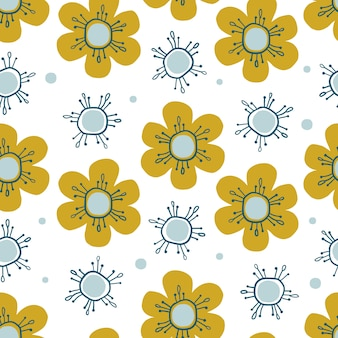 Seamless nature pattern background with hand draw yellow and blue flower
