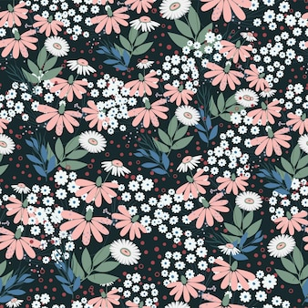 Seamless nature pattern garden abstract flowers leaves and elements black background hand drawn