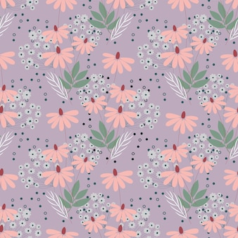Seamless nature pattern garden abstract flowers leaves and elements lilac background hand drawn
