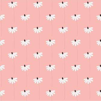 Seamless nature pattern garden abstract flowers leaves and elements pink background hand drawn