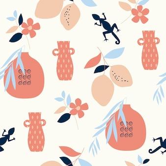 원활한 자연 패턴 원 예 추상 꽃과 흰색 배경에 그리기 요소