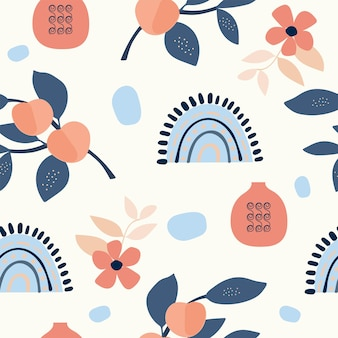 Seamless nature pattern gardening abstract flowers and elements drawing on  white background