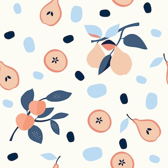 Seamless nature pattern gardening abstract flowers and fruits white background hand drawn