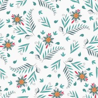 Seamless nature pattern gardening abstract flowers leaves drawing on a white background