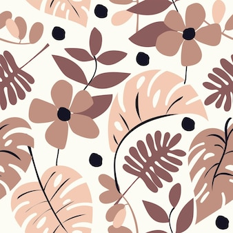Seamless nature pattern gardening abstract flowers shapes and leaves monstera white background