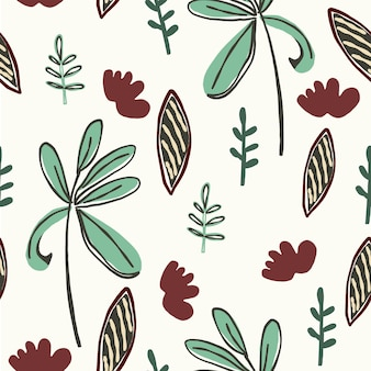 Seamless nature pattern gardening abstract flowers vases shapes and elements  white background