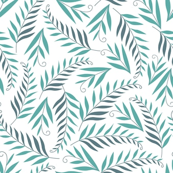 Seamless nature pattern gardening abstract leaves drawing on a white background hand drawn