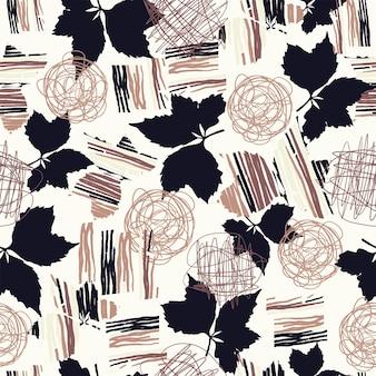 원활한 자연 패턴 원 예 추상 모양과 흰색 배경 갈색에 그리기 잎